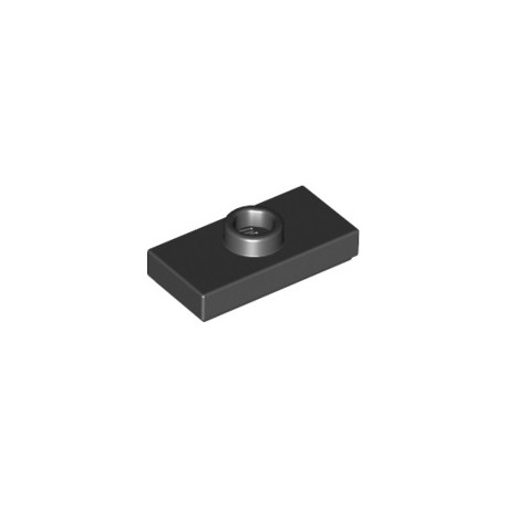 Platte 1x2 mit zentraler Noppe, schwarz