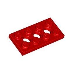 Lochplatte 2x4 mit 3 Pinlöchern, rot
