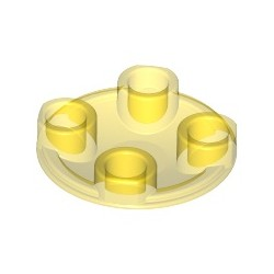 Platte 2x2 rund, abgerundeter Boden, transparent gelb
