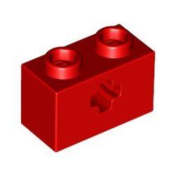 Lochstein 1 x 2 mit Achsenloch, rot