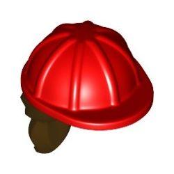 Bauarbeiterhelm mit braunem Haarteil, rot