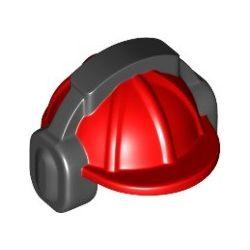 Bauarbeiterhelm mit schwarzem Ohrenschützer, rot