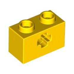 Lochstein 1 x 2 mit Achsenloch, gelb