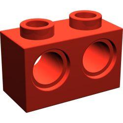 Lochstein 1 x 2 mit 2 Pinloechern, rot