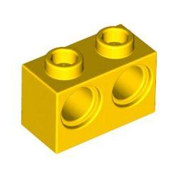 Lochstein 1 x 2 mit 2 Pinloechern, gelb
