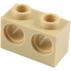 Lochstein 1 x 2 mit 2 Pinloechern, beige