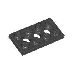 Lochplatte 2x4 mit 3 Pinlöchern, schwarz