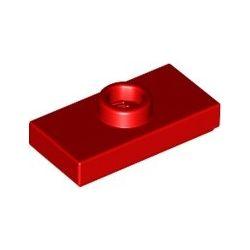 Platte 1x2 mit zentraler Noppe, rot