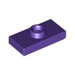 Platte 1x2 mit zentraler Noppe, dunkelviolett