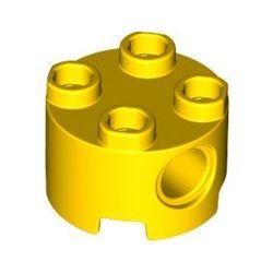 Stein 2x2 rund mit Loch, gelb