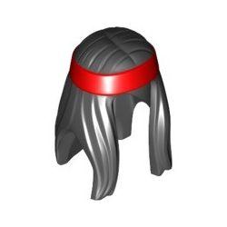 Haare lang, rotes Haarband, schwarz