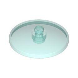 Platte 4x4 rund, zentrale Noppe, transparent hellblau