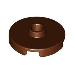 Platte 2x2 rund mit zentraler Noppe, braun