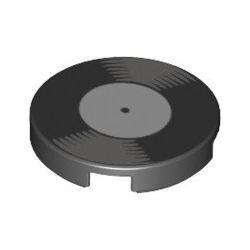 """Kachel / Fliese 2x2 rund """"Schallplatte"""", schwarz"""
