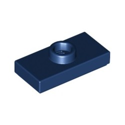 Platte 1x2 mit zentraler Noppe, dunkelblau