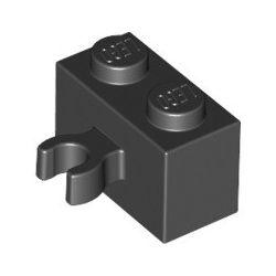 Stein 1x2 mit vertikalem Clip, schwarz