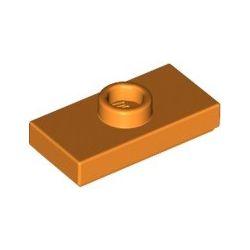 Platte 1x2 mit zentraler Noppe, orange