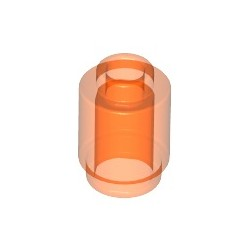 Stein 1x1 rund, transparent fluoreszierend orange