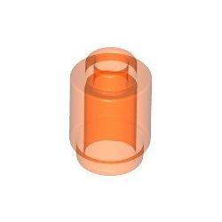 Stein 1x1 rund, transparent fluoreszierend orange