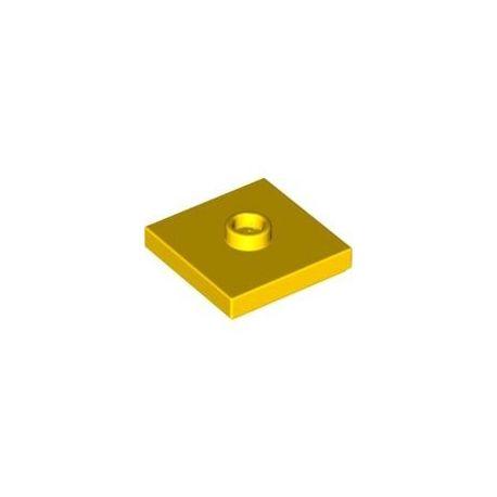 Platte 2x2 mit zentraler Noppe, gelb