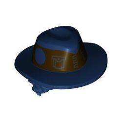 Hut dunkelblau mit Haarteil dunkelbraun