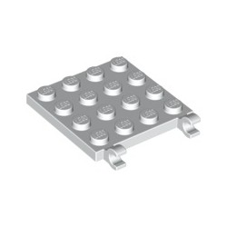Platte 4x4 mit 2 horizontalen Clips, weiss
