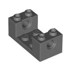 Lochstein 2x4x1 1/3 mit Ausschnitt 2x2, dunkelgrau