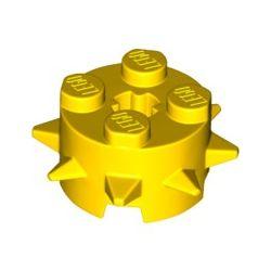 Stein 2x2 rund mit Zacken, gelb