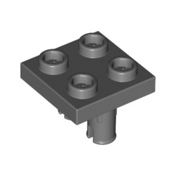 Platte 2x2 mit 2 Pins an Unterseite, dunkelgrau