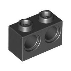 Lochstein 1 x 2 mit 2 Pinlöchern, schwarz