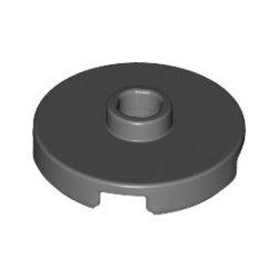 Platte 2x2 rund mit zentraler Noppe, dunkelgrau