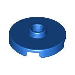 Platte 2x2 rund mit zentraler Noppe, blau