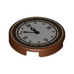 """Kachel / Fliese 2x2 rund """"Uhr"""", braun"""