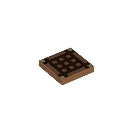 """Kachel / Fliese 2x2 """"Minecraft Werkbank"""", hellbraun"""