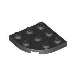 Platte 3x3 viertelrund, schwarz