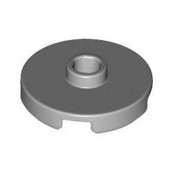 Platte 2x2 rund mit zentraler Noppe, hellgrau