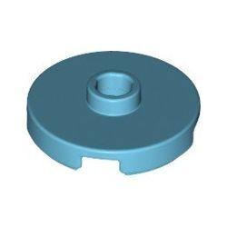Platte 2x2 rund mit zentraler Noppe, azurblau