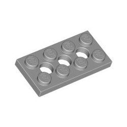 Lochplatte 2x4 mit 3 Pinlöchern, hellgrau