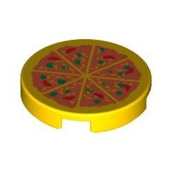 """Kachel / Fliese 2x2 rund """"Pizza"""", gelb"""