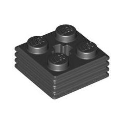 Platte 2x2x2/3 geriffelt, schwarz
