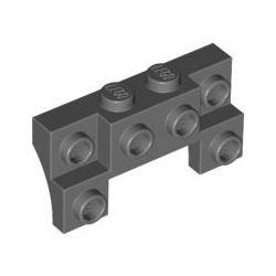 Winkel 2x4 - 1x4 mit 2 vertieften Noppen, seitliche Bögen, dunkelgrau