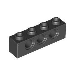 Lochstein 1 x 4 mit 3 Pinloechern, schwarz